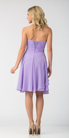 Starbox USA 6069 Chiffon Homecoming Dress Lilac Short Strapless Ruffled Layers Back View