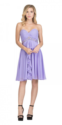 Starbox USA 6069 Chiffon Homecoming Dress Lilac Short Strapless Ruffled Layers