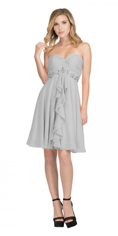 Starbox USA 6069 Chiffon Homecoming Dress Silver Short Strapless Ruffled Layers