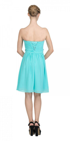 Starbox USA 6069 Chiffon Homecoming Dress Tiffany Blue Short Strapless Ruffled Layers