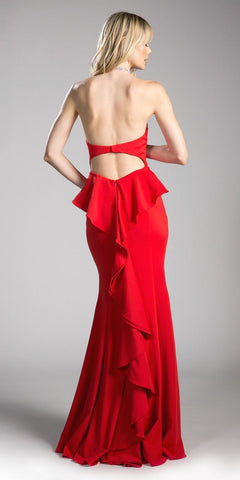 Red Prom Gown Ruffled and Cut-Out Back Strapless
