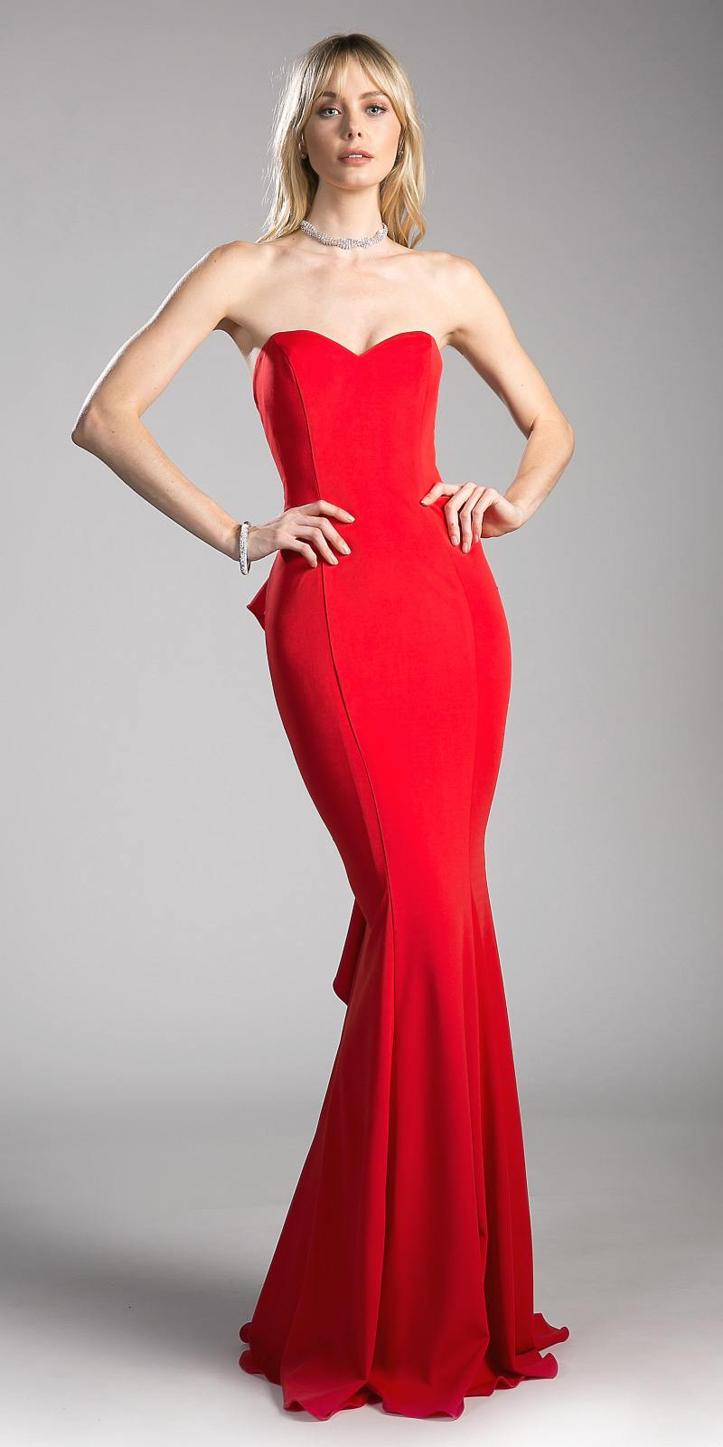 Cinderella Divine 6070 Red Prom Gown Ruffled and Cut-Out Back ...