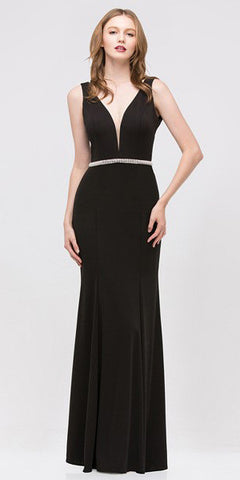 Fit and Flare Formal Black Evening Gown Deep V Neckline