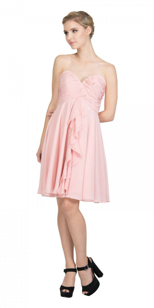 Starbox USA 6070 Knee Length Chiffon Bridesmaid Dress Blush Sweetheart Neck