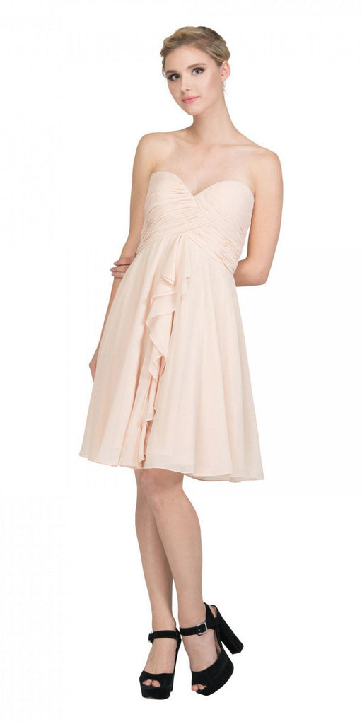 Starbox USA 6070 Knee Length Chiffon Bridesmaid Dress Champagne Sweetheart Neck