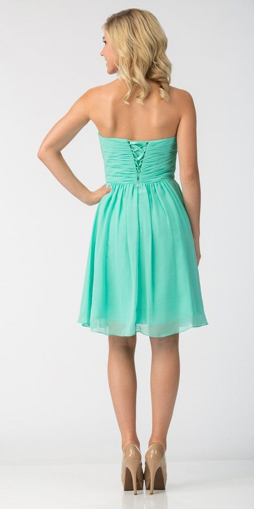 Starbox USA 6070 Knee Length Chiffon Bridesmaid Dress Mint Sweetheart Neck Back View
