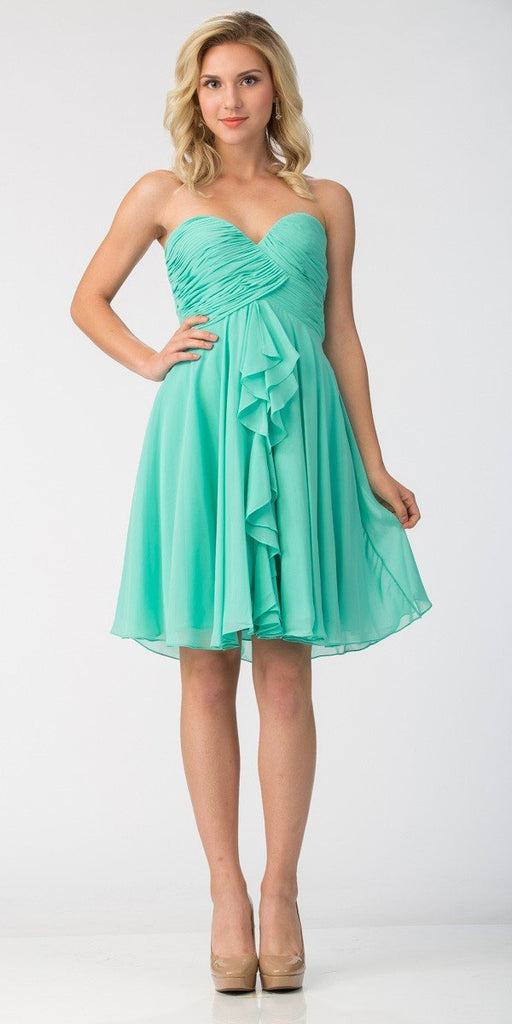 Starbox USA 6070 Knee Length Chiffon Bridesmaid Dress Mint Sweetheart Neck