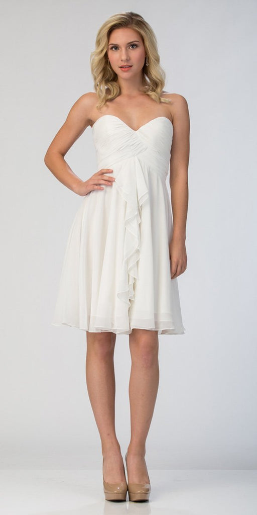Starbox USA 6070 Knee Length Chiffon Bridesmaid Dress Off White Sweetheart Neck