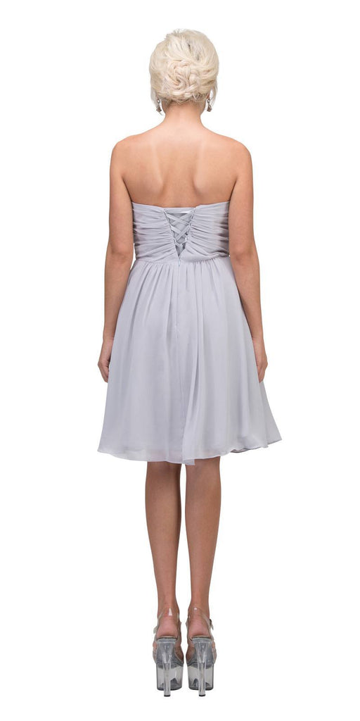 Starbox USA 6070 Knee Length Chiffon Bridesmaid Dress Silver Sweetheart Neck
