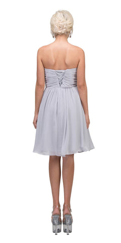Knee Length Chiffon Bridesmaid Dress Silver Sweetheart Neck