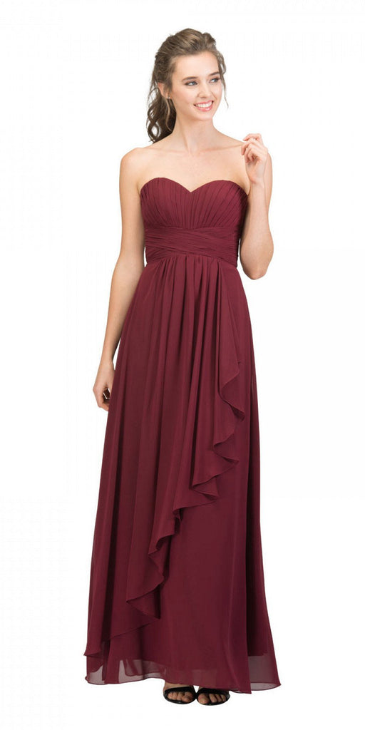 Starbox USA L6074-1 Long Strapless Chiffon Bridesmaid Dress Burgundy