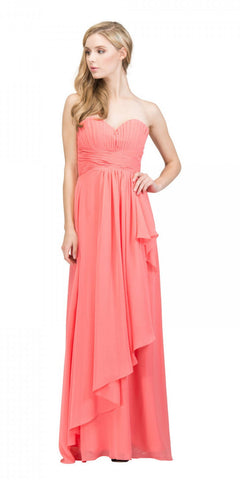 Starbox USA L6074-1 Long Strapless Chiffon Bridesmaid Dress Coral