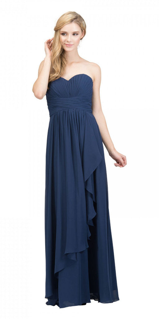 Starbox USA L6074-1 Long Strapless Chiffon Bridesmaid Dress Navy Blue