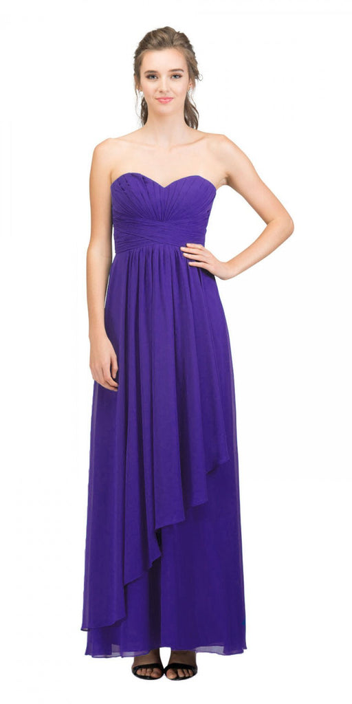 Starbox USA L6074-1 Long Strapless Chiffon Bridesmaid Dress Purple