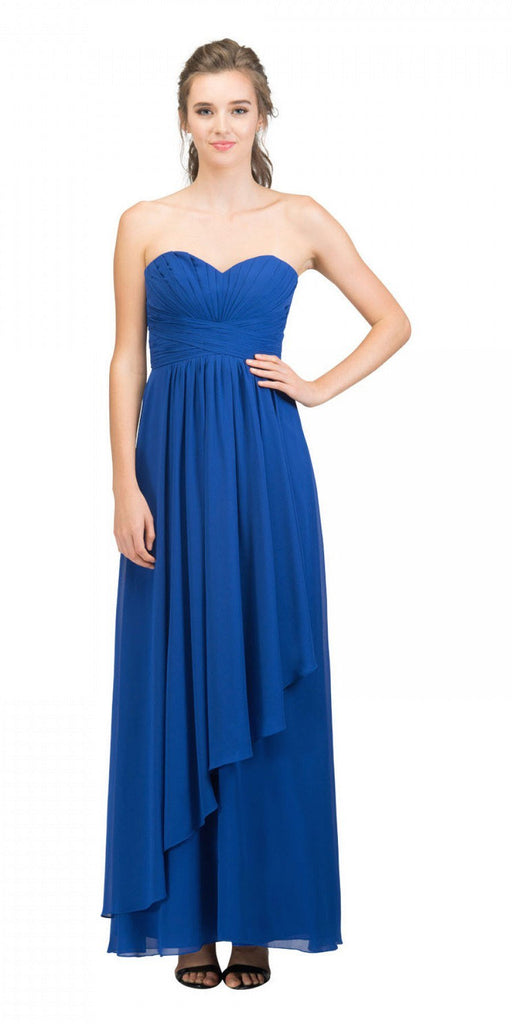 Starbox USA L6074-1 Long Strapless Chiffon Bridesmaid Dress Royal Blue