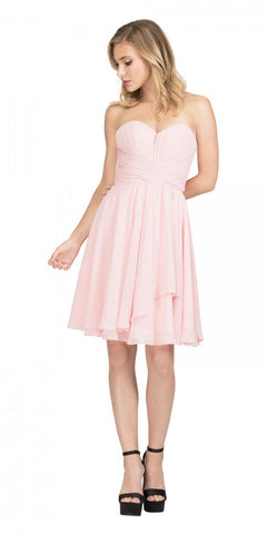 Starbox USA S6074 Sweetheart Pleated Bust Drape Skirt Blush Above-Knee Dress Strapless