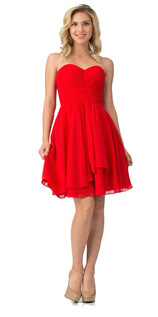 Starbox USA S6074 Sweetheart Pleated Bust Drape Skirt Red Above-Knee Dress Strapless
