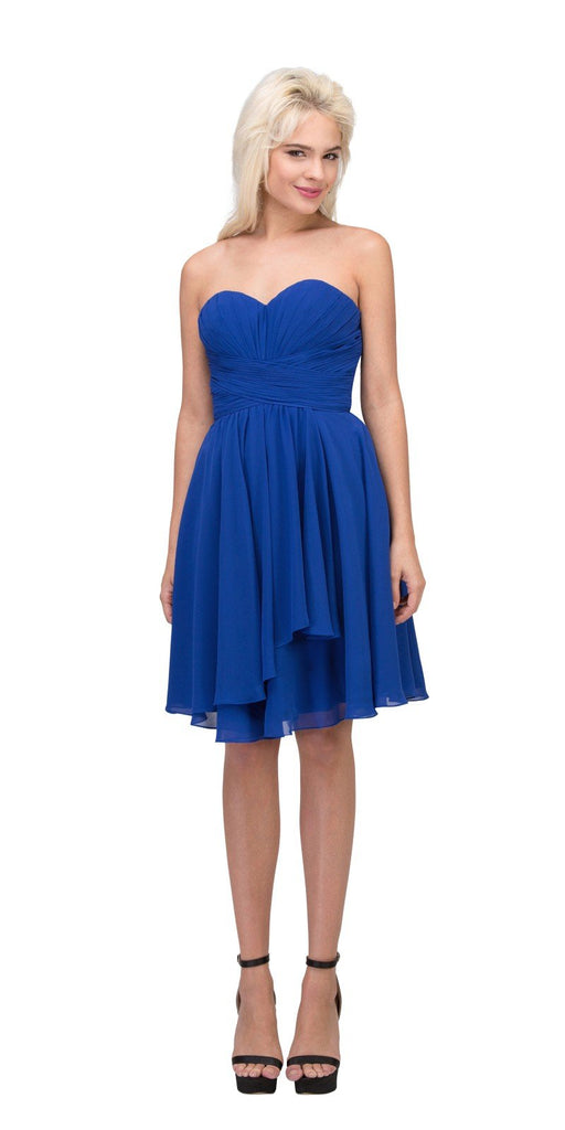 Starbox USA S6074 Sweetheart Pleated Bust Drape Skirt Royal Blue Above-Knee Dress Strapless
