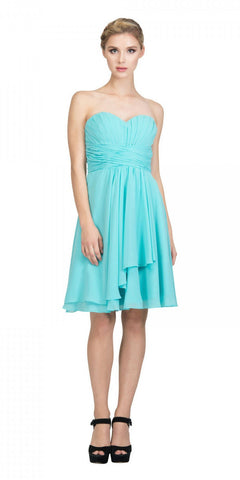 Short Sleeveless Two Piece Dress Aqua Lace Bodice
