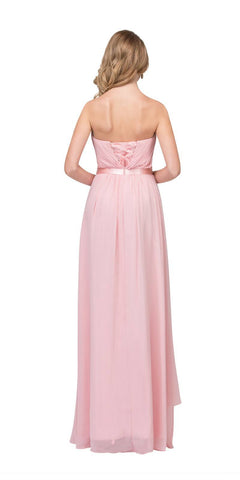 Starbox USA L6078 Studded Waterfall Draped Sweetheart Neck Chiffon Prom Dress Blush