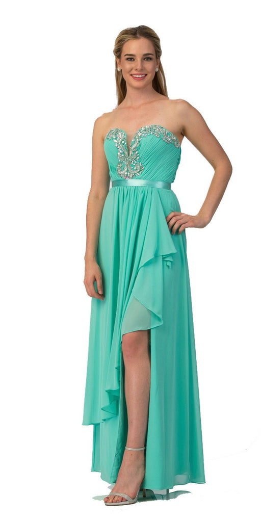 Starbox USA L6078 Studded Waterfall Draped Sweetheart Neck Chiffon Prom Dress Mint