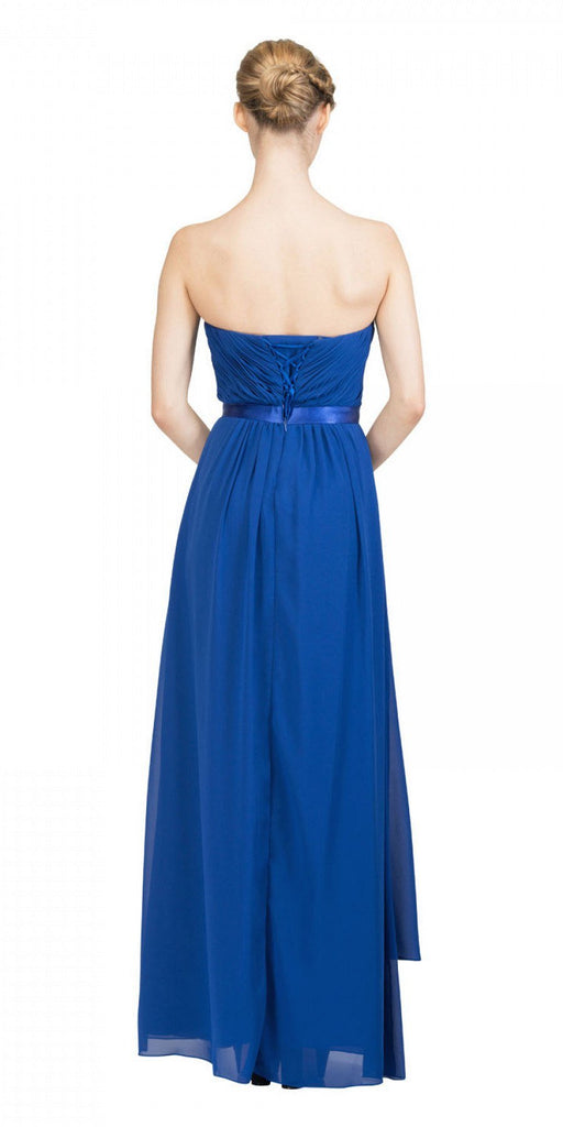 Starbox USA L6078 Studded Waterfall Draped Sweetheart Neck Chiffon Prom Dress Royal Blue