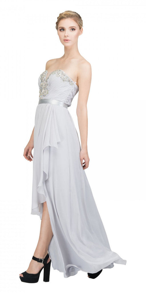 Starbox USA L6078 Studded Waterfall Draped Sweetheart Neck Chiffon Prom Dress Silver