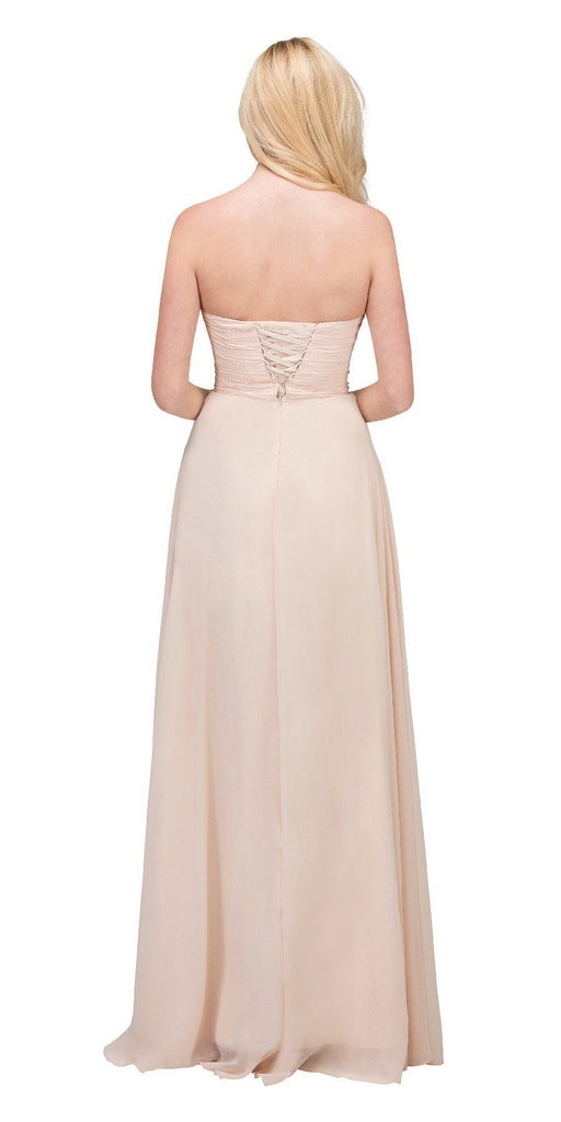 Starbox USA L6079 Jeweled Ruched Bodice Champagne Strapless Chiffon A-Line Dress