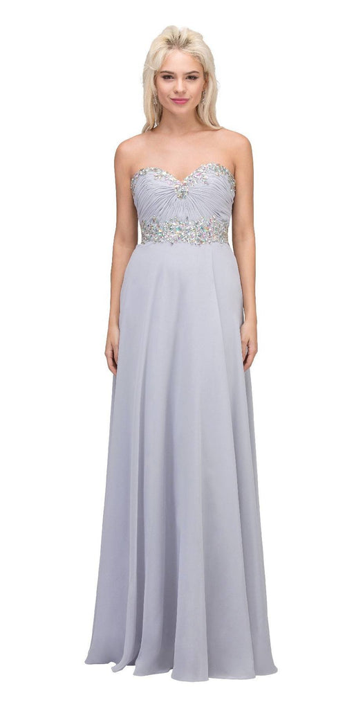 Starbox USA L6079 Jeweled Ruched Bodice Silver Strapless Chiffon A-Line Dress