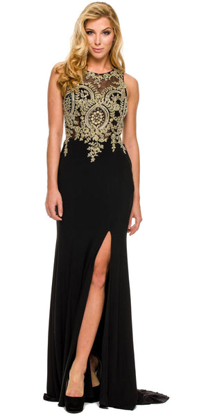 Sexy Sheath Dress Black Floor Length Slit High Neck Flower