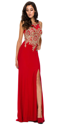 Sexy Sheath Dress Red Floor Length Slit High Neck Flower