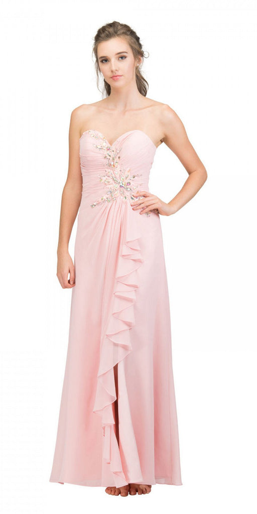 Starbox USA 608-1 Prom Gown Chiffon Blush Front Slit Strapless Floor Length