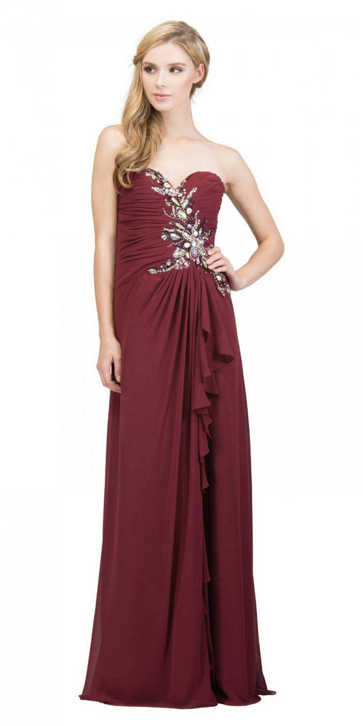 Starbox USA 608-1 Prom Gown Chiffon Burgundy Front Slit Strapless Floor Length
