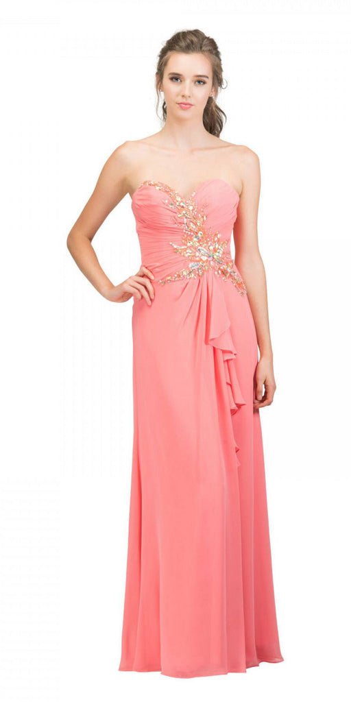 Starbox USA 608-1 Prom Gown Chiffon Coral Front Slit Strapless Floor Length