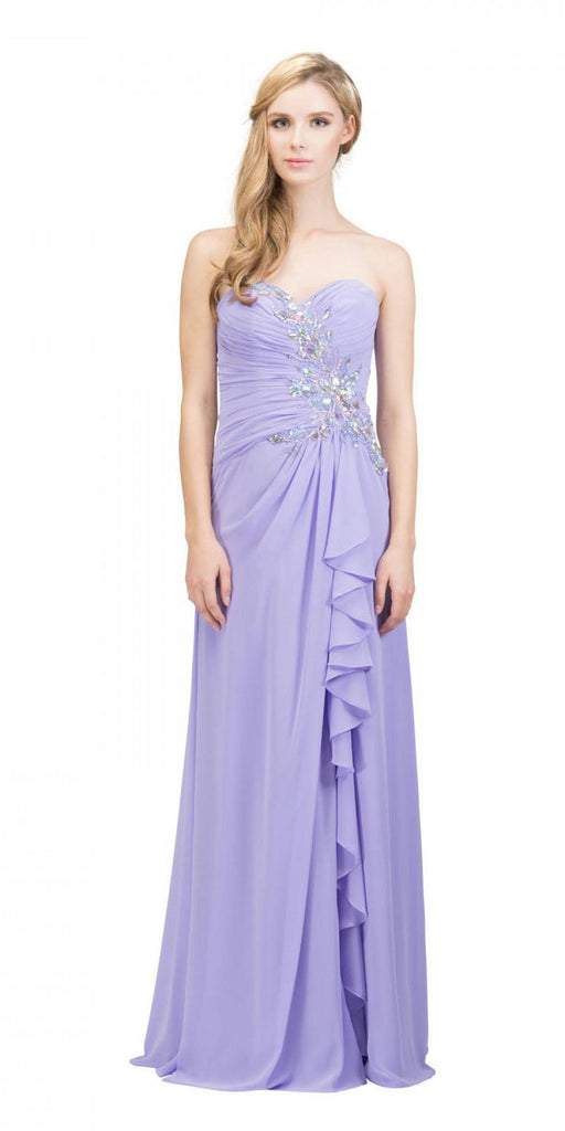 Starbox USA 608-1 Prom Gown Chiffon Lilac Front Slit Strapless Floor Length
