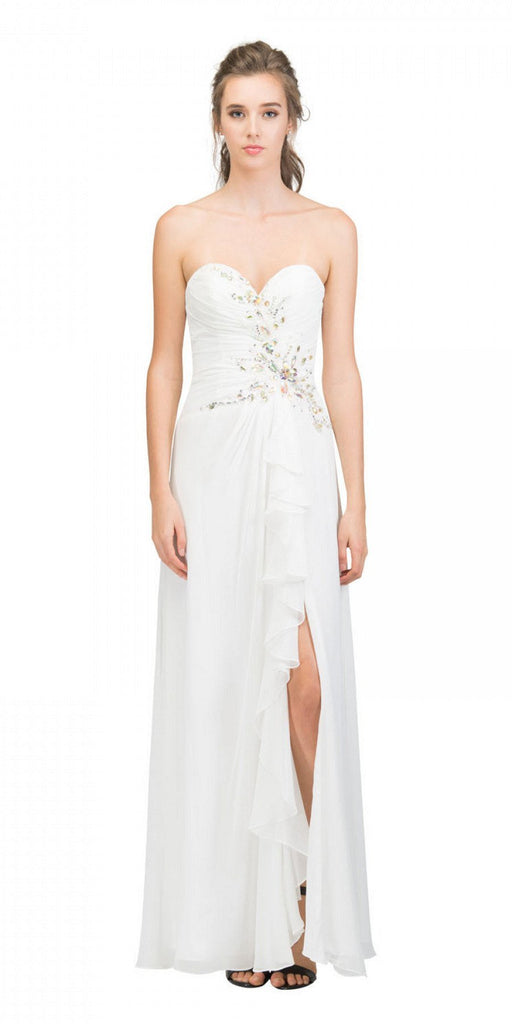 Starbox USA 608-1 Prom Gown Chiffon Off White Front Slit Strapless Floor Length
