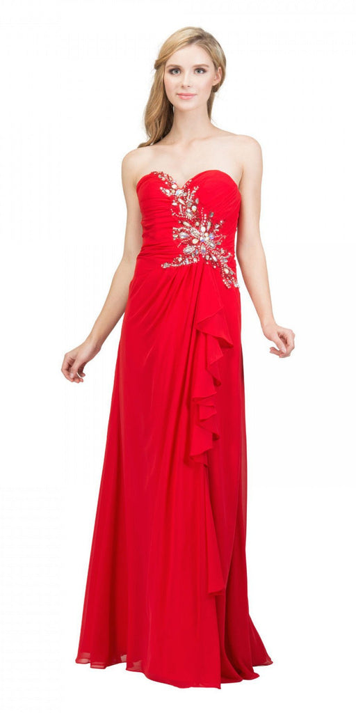Starbox USA 608-1 Prom Gown Chiffon Red Front Slit Strapless Floor Length