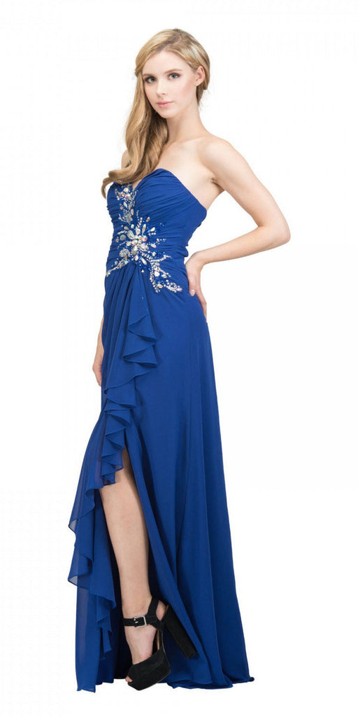 Starbox USA 608-1 Prom Gown Chiffon Royal Blue Front Slit Strapless Floor Length