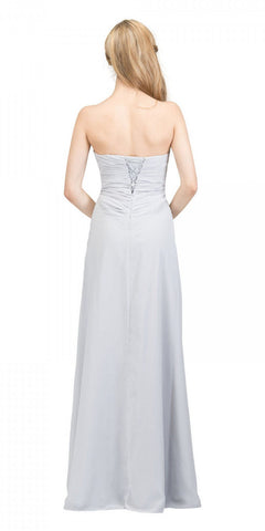 Starbox USA 608-1 Prom Gown Chiffon Silver Front Slit Strapless Floor Length