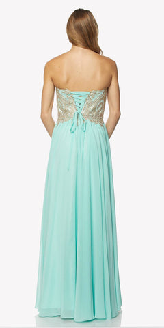 Light Jade Embroidered Bodice Long Formal Dress Lace Up Back