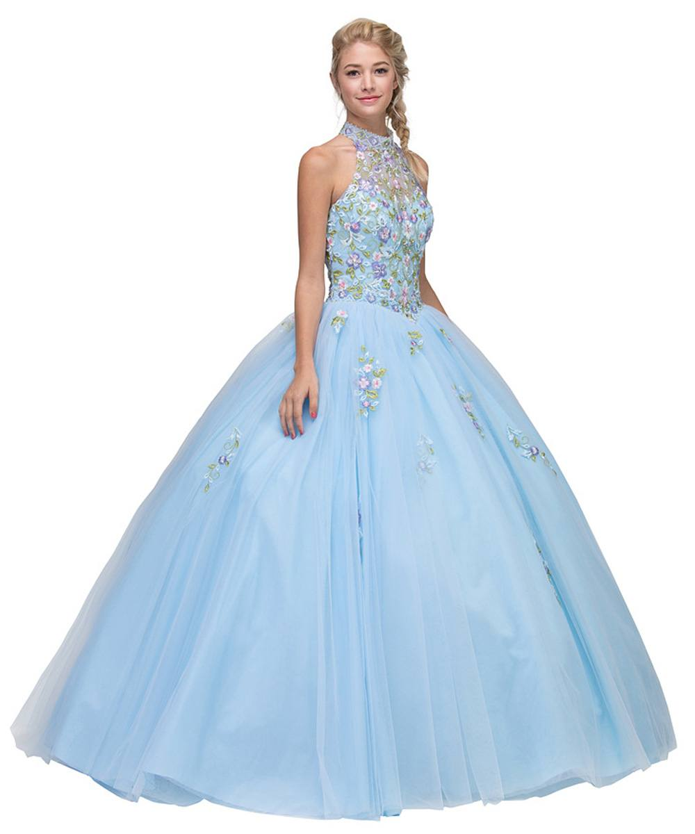 Eureka Fashion 6080 High Neck Embroidered Quinceanera