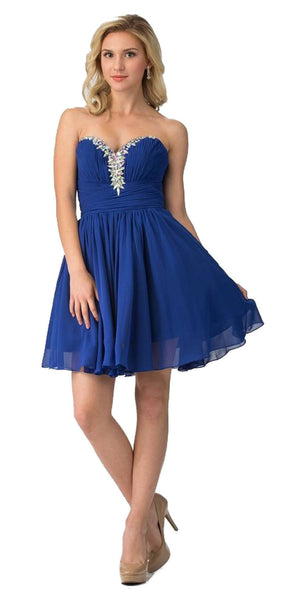 Starbox USA S6083 Ruched Beaded Bodice A-line Skirt Royal Blue Homecoming Dress Short