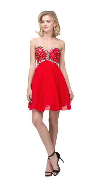 Starbox USA S6084 Sweetheart Empire Waist Red Chiffon Beaded Bodice Damas Dress
