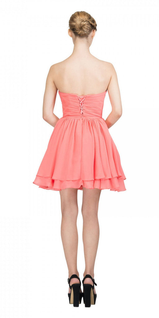 Starbox USA S6085 Strapless Ruched Beaded Bust Chiffon Coral Short Prom Dress