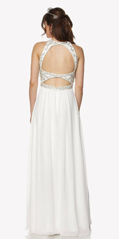 Juliet 609 A Line Chiffon Floor Length Formal Gown Off White Cut Out Back