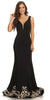 Long Evening Formal Gown Black Stretch Satin V Neckline Embroidered Hem