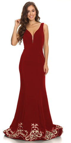 Long Evening Formal Gown Burgundy Stretch Satin V Neckline Embroidered Hem