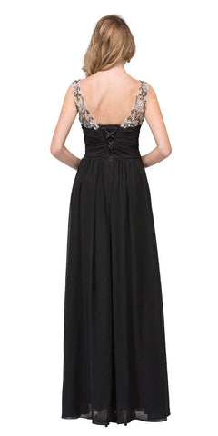 Starbox USA L6093 V-Neck Beaded Straps Ruched Black Empire Waist Evening Gown