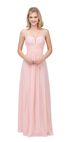 Starbox USA L6094 Sheer Straps Ruched Bodice Blush Empire Waist Bridesmaids Dress