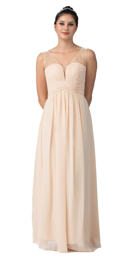 Starbox USA L6094 Sheer Straps Ruched Bodice Champagne Empire Waist Bridesmaids Dress